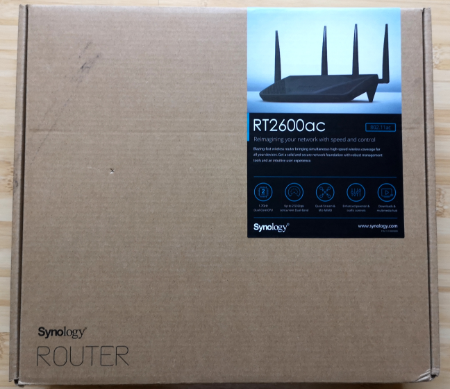 The packaging for Synology RT2600ac
