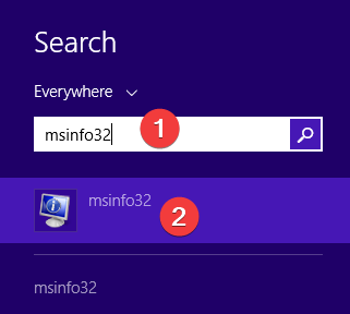 Search for msinfo32 in Windows 8.1
