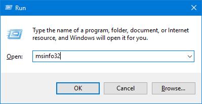 Start System Information using the Run window