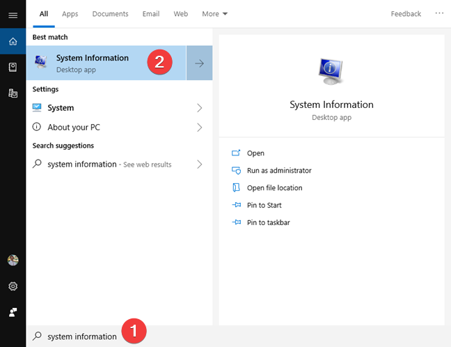 Search for system information in Windows 10