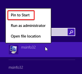 Pin to Start the System Information app in Windows 8.1