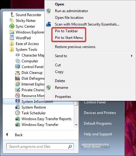 Pin to Taskbar and Pin to the Start Menu in Windows 7