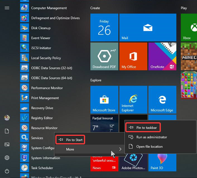Pin to Start and Pin to the taskbar in Windows 10