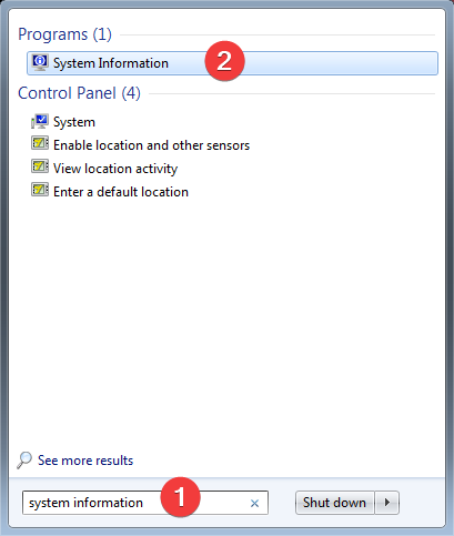 Search for system information in Windows 7