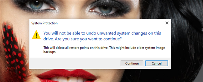 Deleting all the restore points created by System Restore