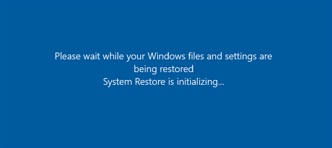 System Restore is initializing