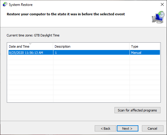 Choosing a restore point in System Restore