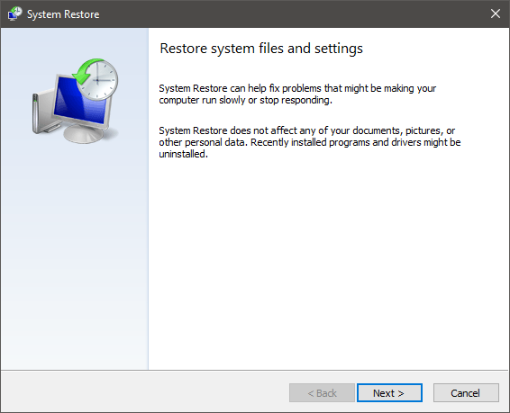 The System Restore wizard