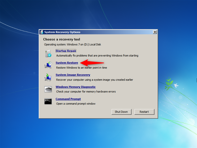 Launch System Restore from boot