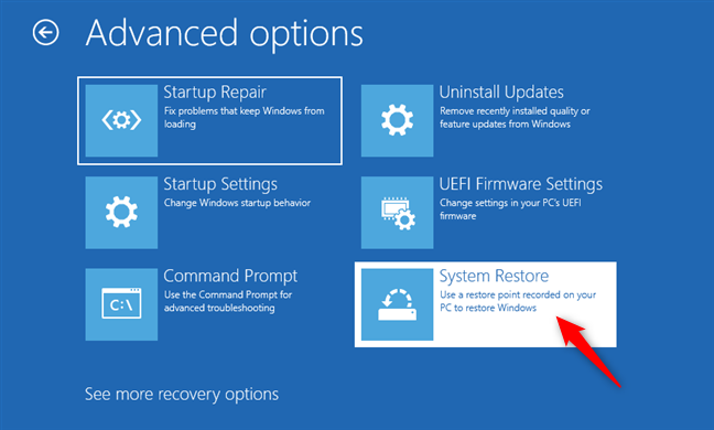 Choosing to launch System Restore