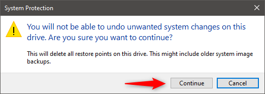Delete all system restore points in Windows 10