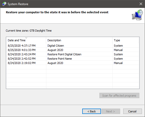 How to see system restore points in Windows 10