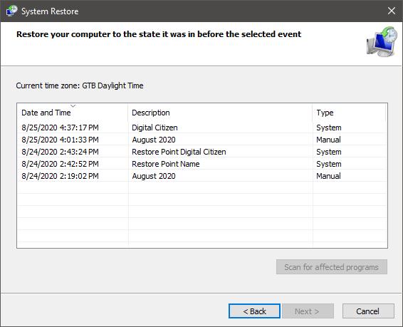 Cómo ver los puntos de restauración del sistema en Windows 10