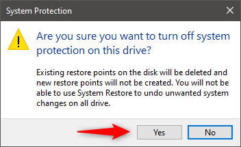 Confirmation that System Restore is disabled