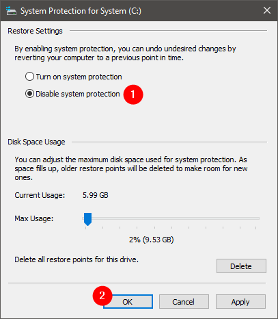 Disable System Restore for a drive
