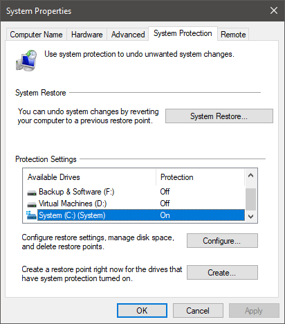 The System Protection tab from the System Properties window