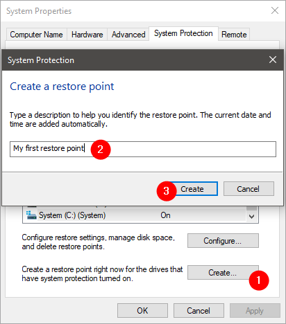 Manually creating a system restore point in Windows 10