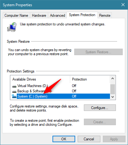 Selecting the drive for which to enable System Restore