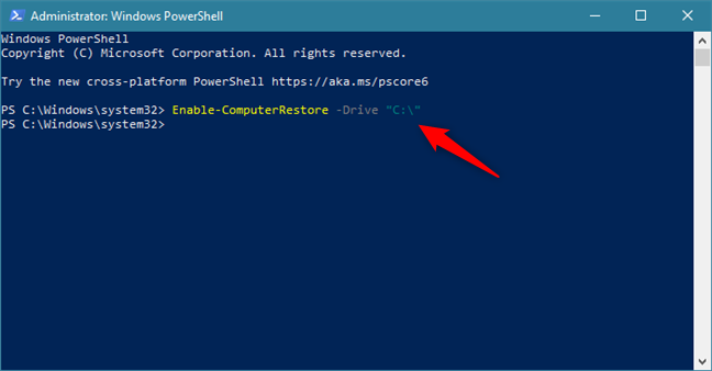 Enable System Restore on the C: drive using a command in PowerShell