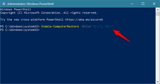 Enable System Restore on the C: and D: drives using a command in PowerShell