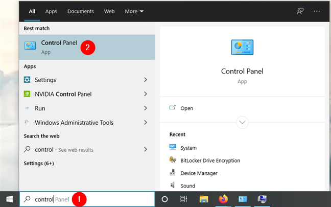 Buscando Panel de control en Windows 10