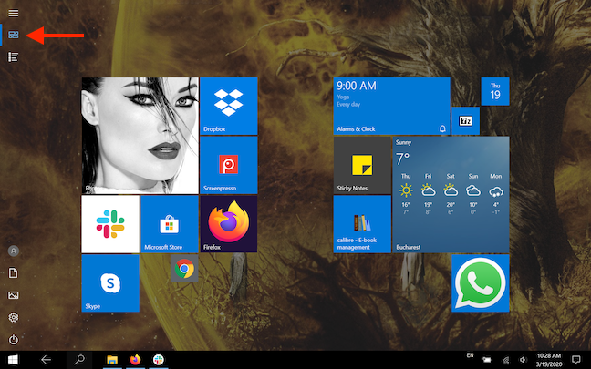 The Pinned tiles button displays the tiles in the Start Menu