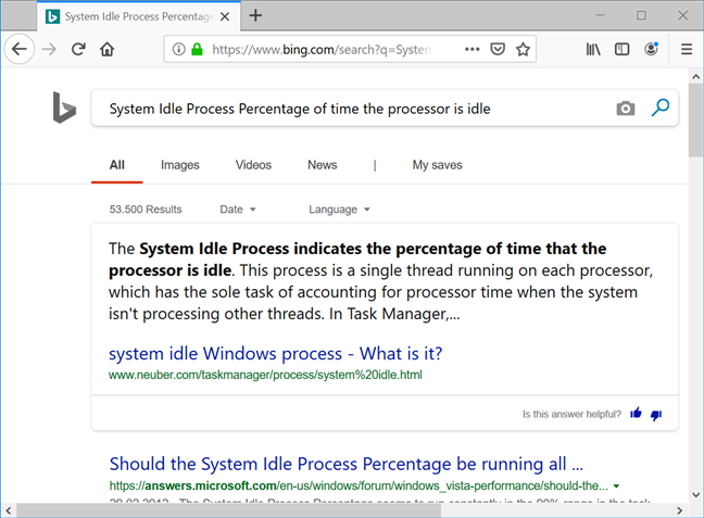 Your browser runs a Bing search with the name and description of the process