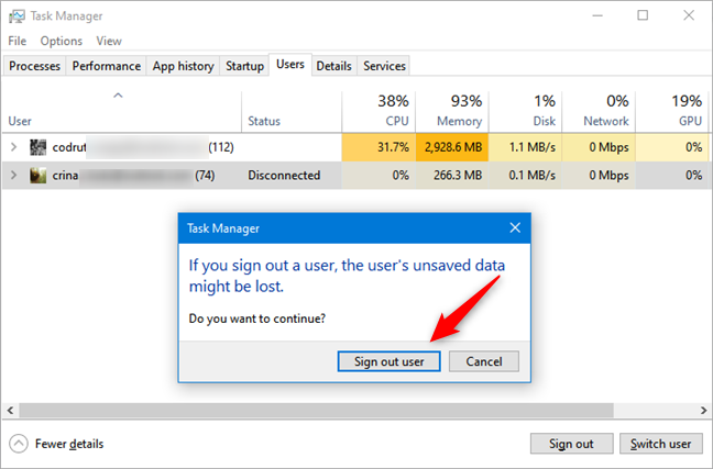 Signing out another user from Task Manager