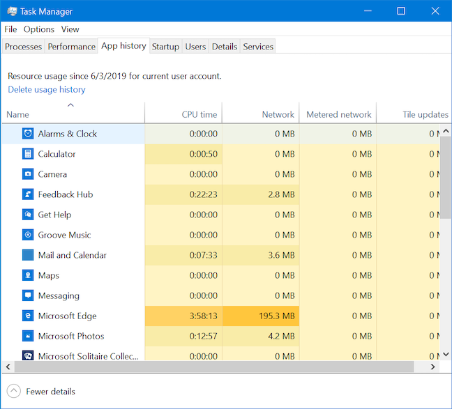 The App history tab in the full version of the Task Manager