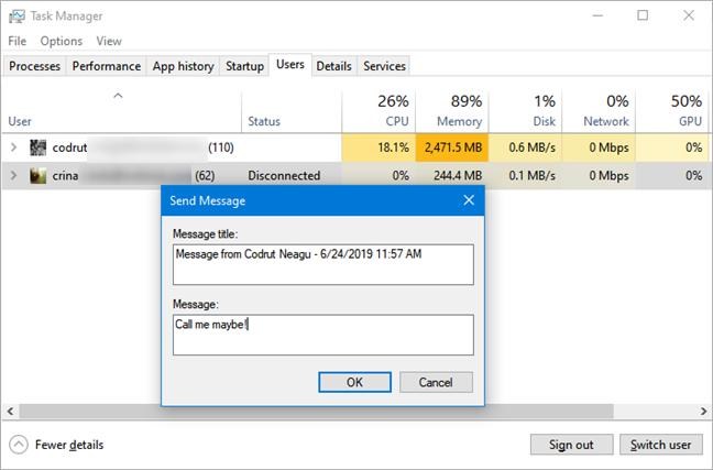 Sending a message to another user from Task Manager