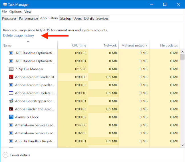 Delete usage history to clear usage statistics and reports