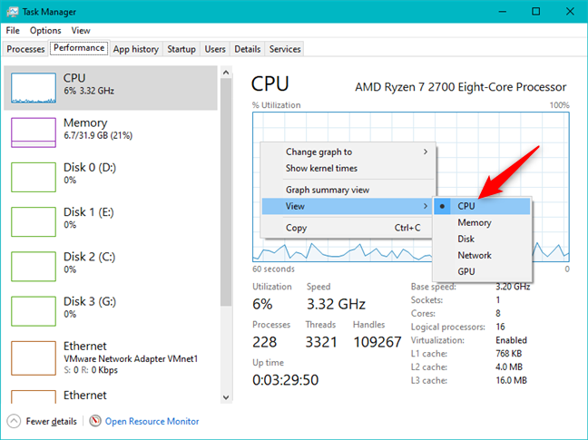 Opening the CPU section from Task Manager's Performance tab
