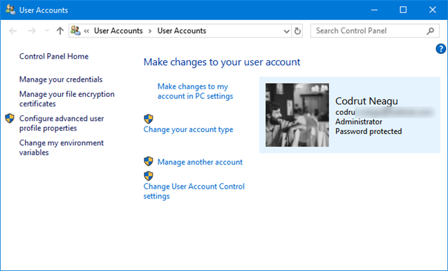 The User Accounts section from the Control Panel