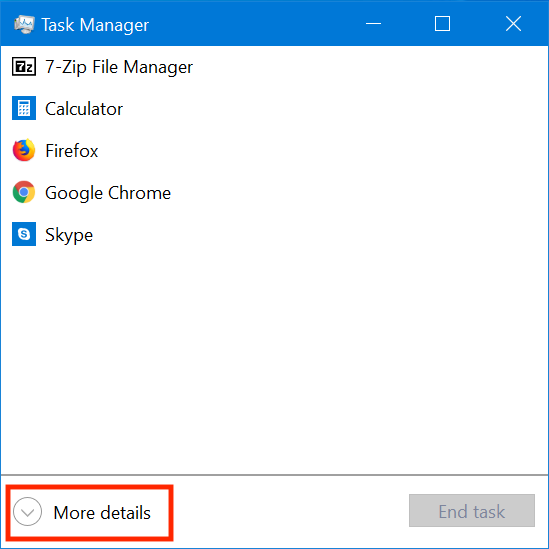 Click or tap More details to open the full version of the Task Manager