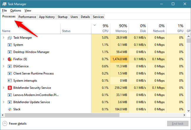The Processes tab from the Task Manager