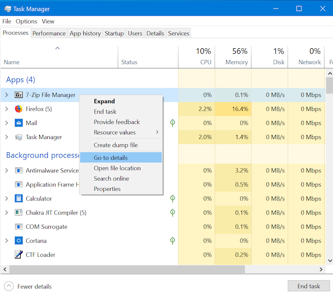 Get more details about a running process in the Task Manager
