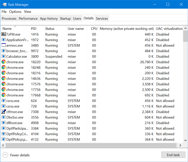 The default view of the Details tab in Windows 10's Task Manager