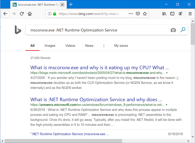 Your browser runs a Bing search with the service's name
