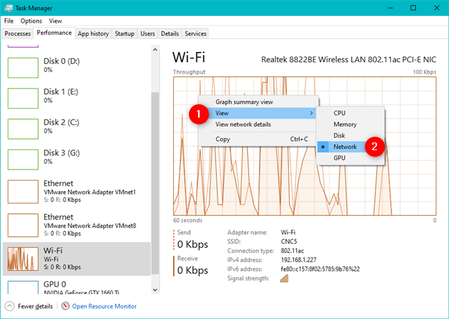 The Wi-Fi section from the Task Manager Performance tab