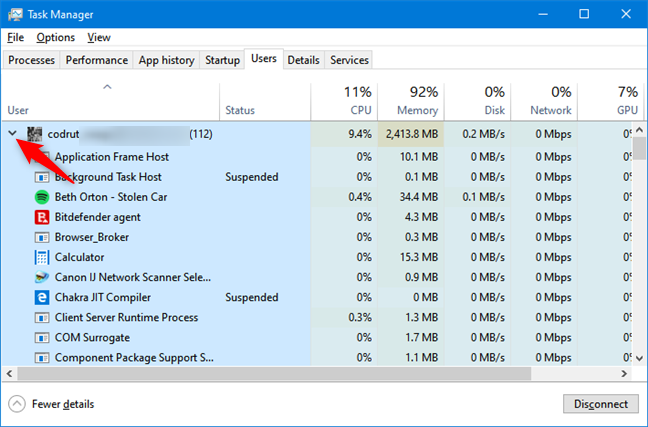 Task Manager - The list of processes run by a user account