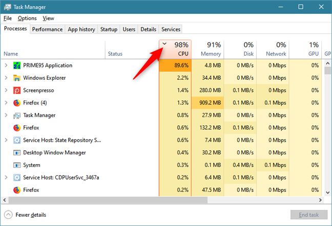 Sorting Windows 10 apps by CPU usage
