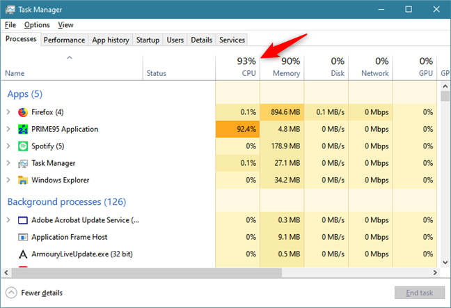 The CPU header from Task Manager's Processes tab