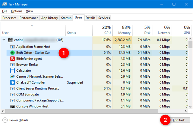 Ending a process in the Task Manager