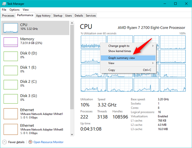 The Graph summary view option in the Task Manager