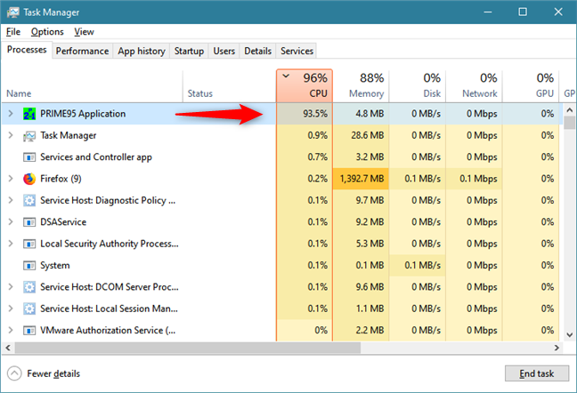 Identifying the Windows 10 app that hogs the processor