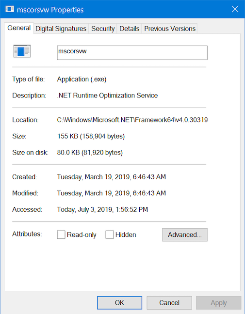 The Properties window for a Windows 10 process