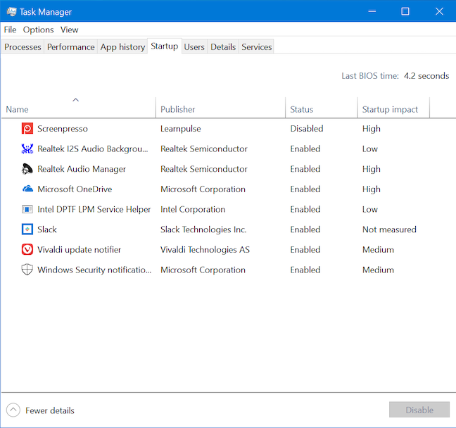 The Startup tab in the Windows 10 Task Manager