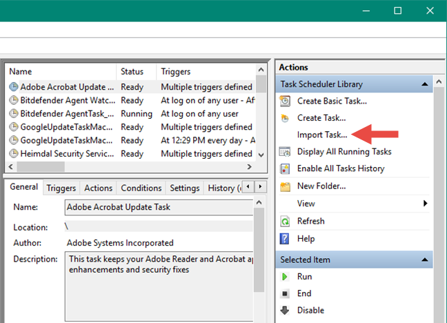 Importing a scheduled task from an XML file