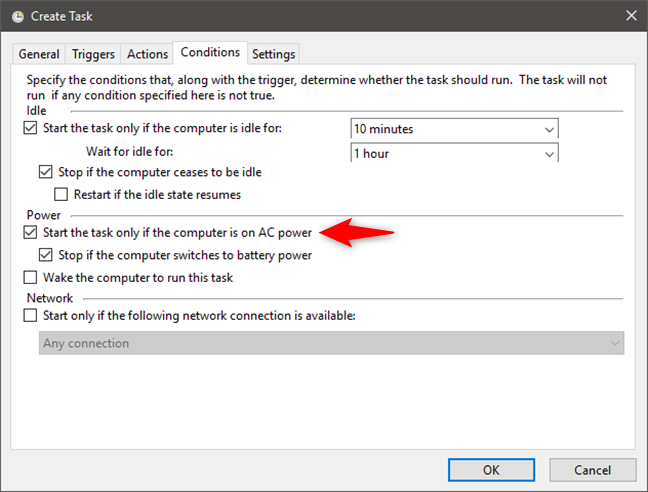 Choosing to start a task only if the PC is connected to AC power