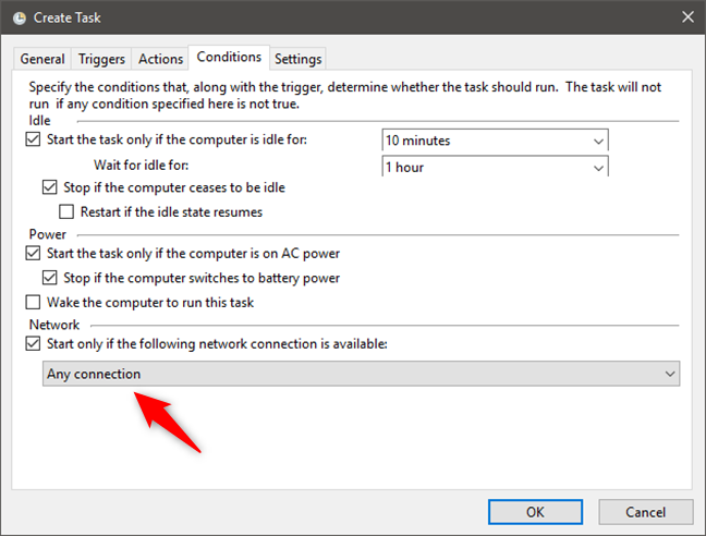 Choosing to start a task only if specified network connections are available